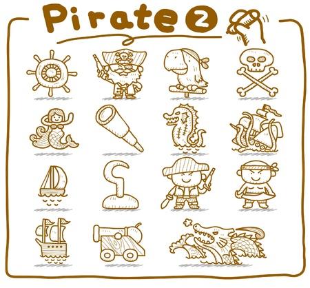 ruder: Hand gezeichnet Piraten, R�uber-Symbol gesetzt Illustration