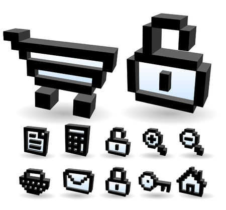 Three-dimensional Shape &pixel style internet,business,communication,shopping icon set  Stock Vector - 10927219