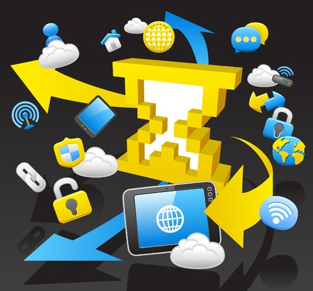 protect home: business,internet,computing,cloud computing,tablet PC concept.  Illustration