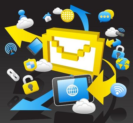 business,internet,computing,cloud computing,tablet PC concept.  Vector