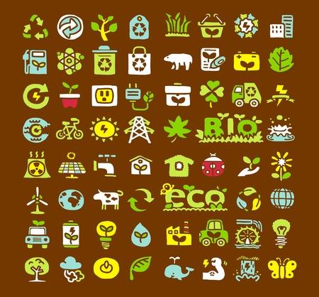 icono ecologico: Dibujado a mano para el Medio Ambiente, ECO conjunto de iconos Vectores