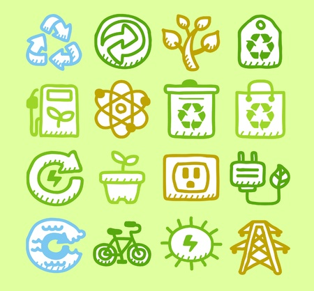 Hand drawn Environment,ECO icon set  Vector