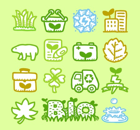Hand drawn Environment,ECO icon set  Vector