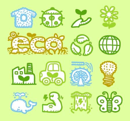 Hand drawn Environment,ECO icon set Stock Vector - 10926360