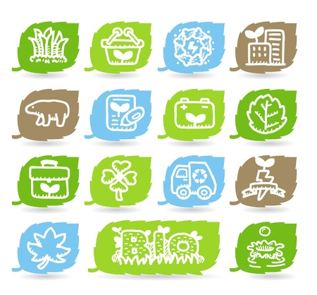 green power: Hand drawn Environment,ECO icon set