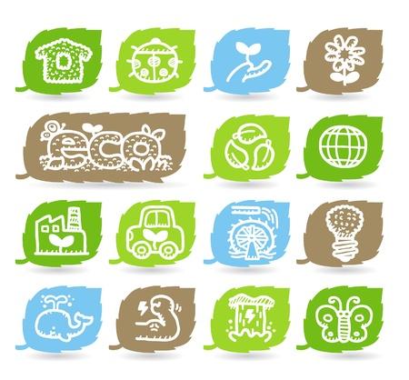 Hand drawn Environment,ECO icon set Stock Vector - 10926375