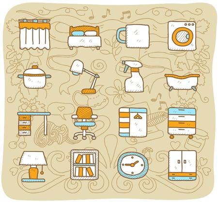 lavadora con ropa: Dibujado a mano muebles, interiores, conjunto de iconos