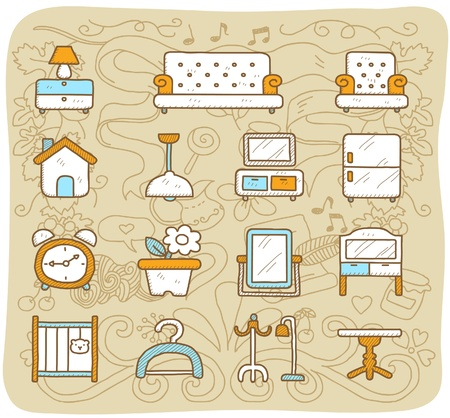 paper hanger: Hand drawn furniture,indoors, icon set