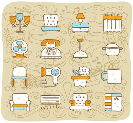 Hand drawn furniture,indoors, icon set Stock Vector - 10927228