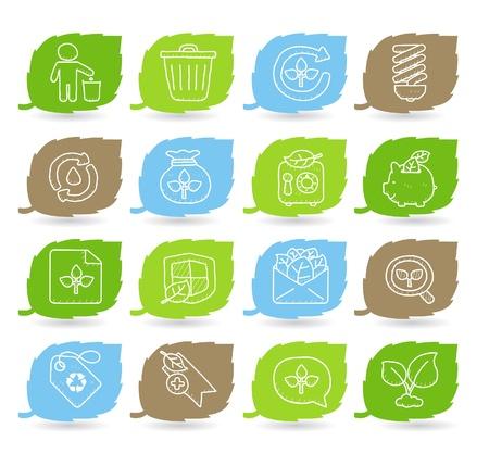 Hand drawn Environment,ECO icon set