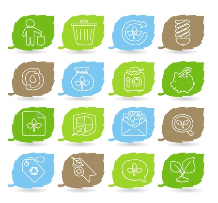 icono ecologico: Medio ambiente dibujado a mano, conjunto de iconos ECO