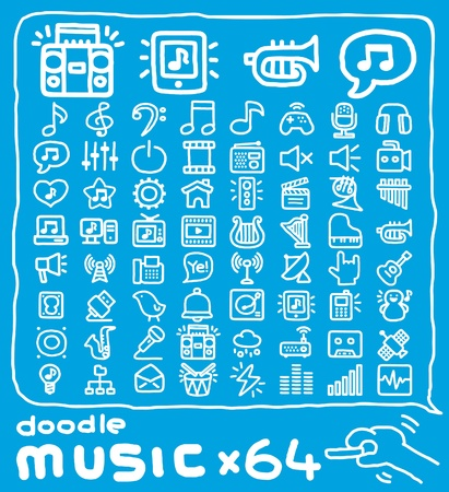 media equipment: Hand drawn music icons