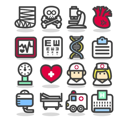 safety at work: Medical ,Emergency ,health care  icons set