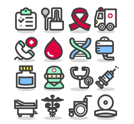 urgencias medicas: M�dico, emergencia, iconos de salud establecidos