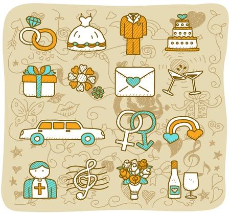Hand dranw huwelijk, liefde, mode-icoon set