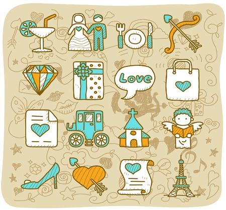 Hand dranw Hochzeit, Liebe, Mode-Ikone eingestellt Vektorgrafik