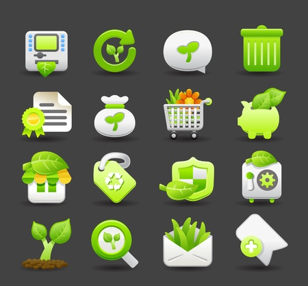 descriptive: ECO,BIO and environmental green  icon set Illustration