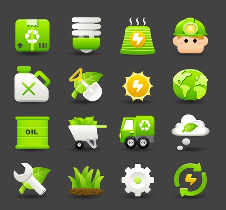 oliedrum: ECO, BIO en het milieu groen pictogram set