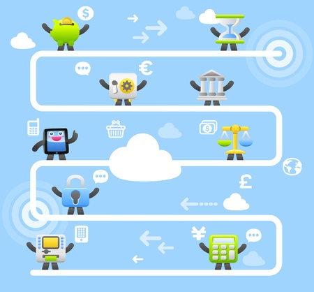 bank transfer: funny cartoon Tablet PC ,communication,business,finance character collection