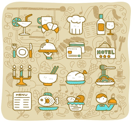 eating fast food: Mano dibujado restaurante, comida, viajes conjunto de iconos