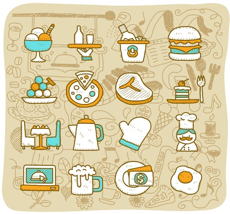 descriptive color: Hand drawn restaurant,food, travel icon set
