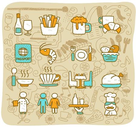 손으로 그린 레스토랑, 음식, 여행 아이콘 세트