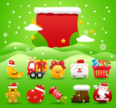 christmas,Xmas icon & background collection  Stock Vector - 11110870