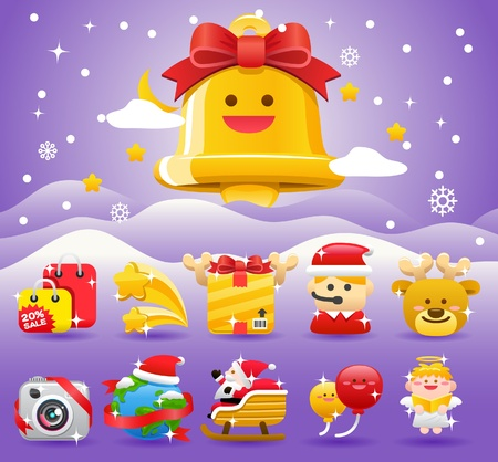christmas,Xmas icon & background collection  Stock Vector - 11110868