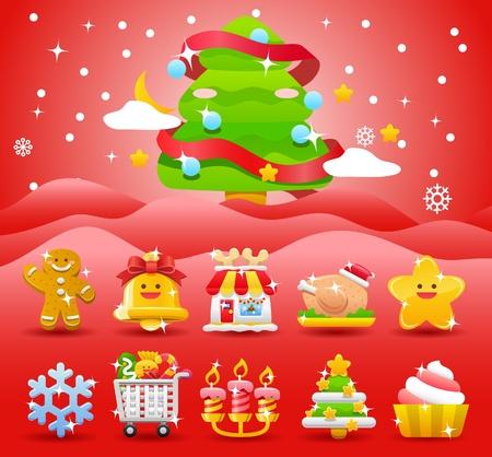 christmas,Xmas icon & background collection  Vector
