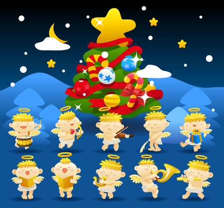 christmas,angels icon & background collection  Vector