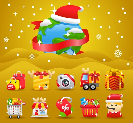 christmas,Xmas,shopping icon & background collection  Vector