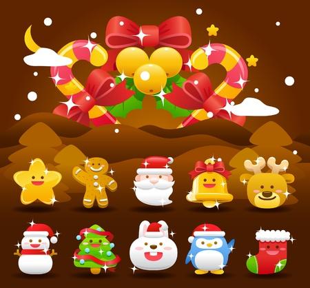 크리스마스, 크리스마스 아이콘 및 배경 모음
