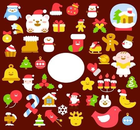casita de dulces: Ilustraci�n vectorial - conjunto de iconos de Navidad  Vectores