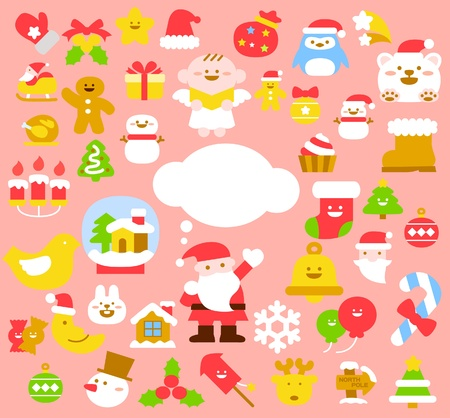 colourful candy: Vector illustration - set of christmas icons