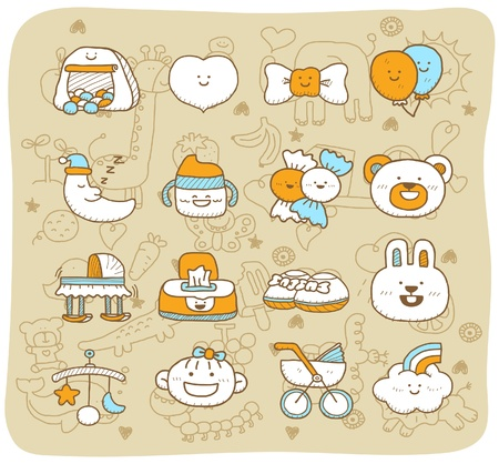 hand drawn,doodle baby icon set Stock Vector - 11181160