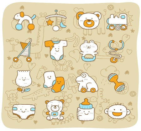 hand drawn,doodle baby icon set Vector