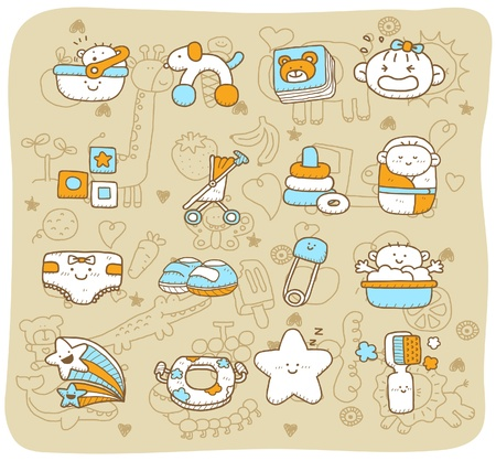 young girl bath: hand drawn,doodle baby icon set