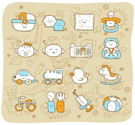 hand, getrokken, doodle baby-icon set