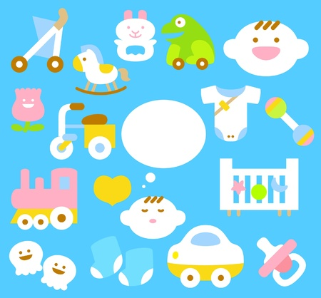 horse care: simple baby icon collection