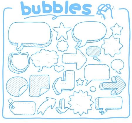 niños platicando: dibujado a mano, burbuja de garabato, coommunication colección de forma Vectores