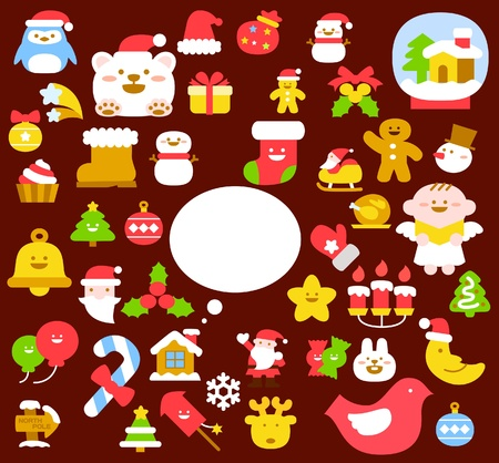 bear berry: christmas,angels icon & background collection