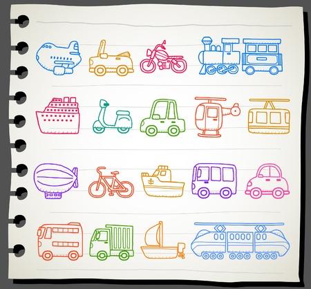 hand drawn car,transportation,vehicle icon set