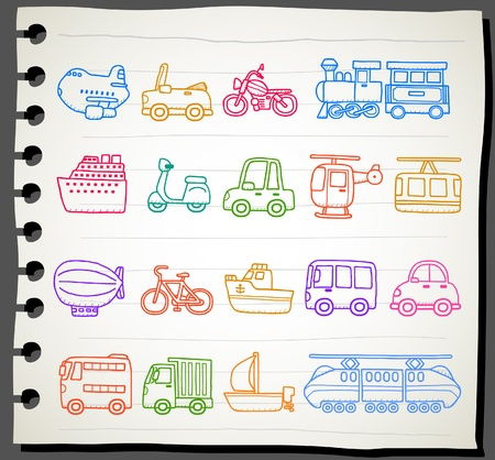 mining ships: hand drawn car,transportation,vehicle icon set