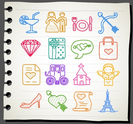 hand drawn love,wedding,fashion icon set