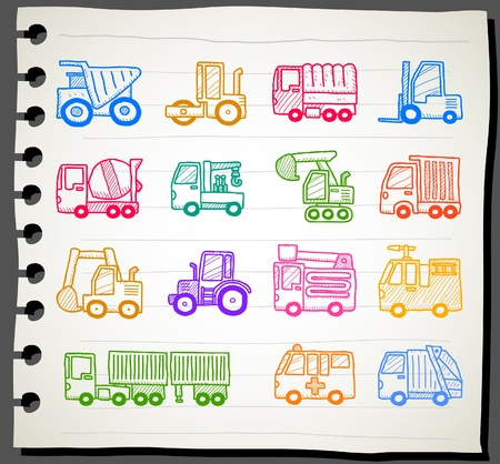 Hand drawn cars,transportation, automobile, work machine icon set  Vector