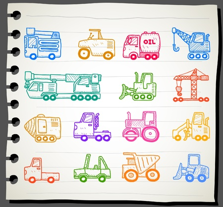 bulldozer: Hand drawn cars,transportation, automobile, work machine icon set