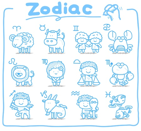 aquarius star: hand drawn, doodle zodiac icon set