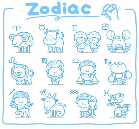 gemini zodiac: hand drawn, doodle zodiac icon set
