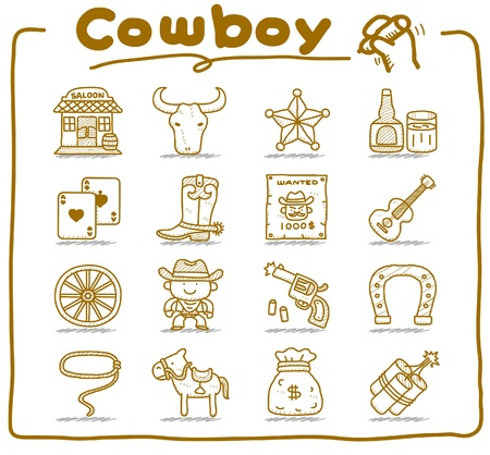 hand drawn wild west,cowboy icon set.doodle vector format.