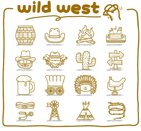 country western: dessin�s � la main wild west, cow-boy ic�ne format vectoriel set.doodle.